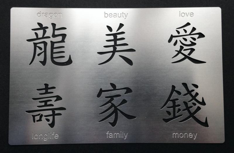 Chinese Characters Writing Words Symbol Stencil Set1 Metal Monkey