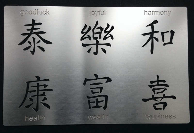 Chinese Characters Writing Words Symbol Stencil Set2 Metal Monkey