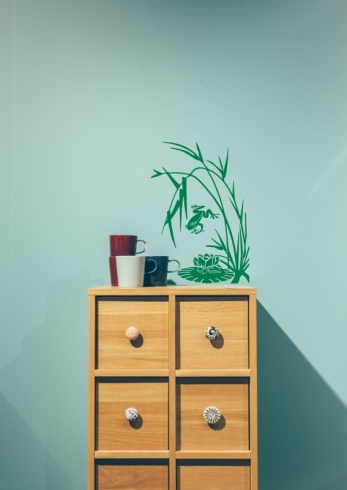 Oriental Grass with Frog & Lily Wall Sticker