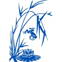 Oriental Grass with Frog & Lily Sticker