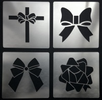 Ornate Bows Ribbon Floral Parcel  Stencils