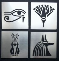Egyptian Symbols Cat Eye Anubis Lotus Stencils
